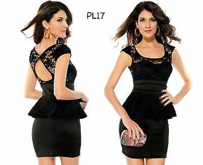Sz 8 10 Black Cap Sleeve Peplum Sexy Lace Formal Party Cocktail Club Mini Dress