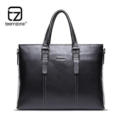 British Style Cowhide Real Leather Men 14' Laptop Briefcase Messenger Tote Black