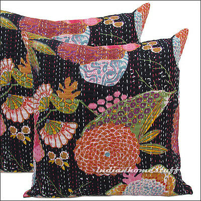 """2 16"""" INDIAN PILLOW CUSHION COVER FLORAL ETHNIC THROW VINTAGE DECORATIVE INDIA"""