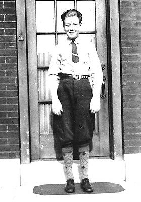 VTG 1930s Photo Snapshot Awkward Young Man Poses In New Knee High Britches Socks