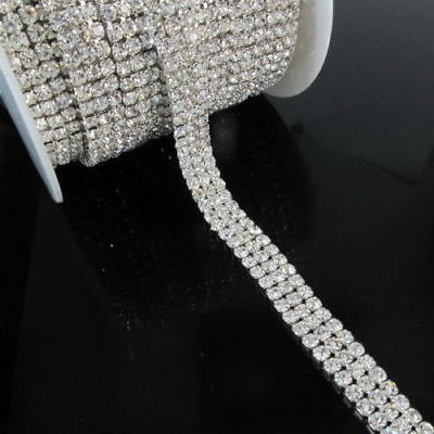 3 Row Clear Diamante Crystal Rhinestone Chain Trim Cake SS16 4mm Browband Silver