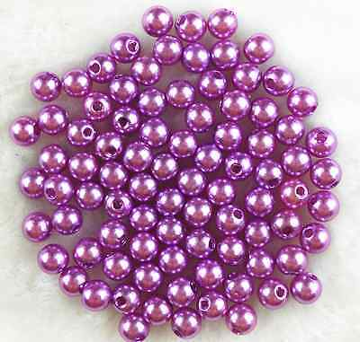 100Pcs 8mm Purple Round Pearl  Acrylic Spacer Loose Beads #02