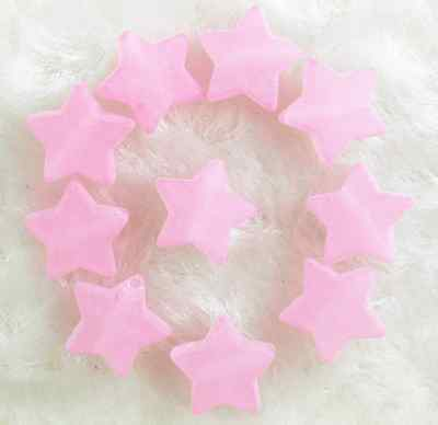 100Pcs 10mm Pink  Frosted Acrylic Star Spacer Loose Beads # 2