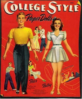 VINTAGE UNCUT 1941 COLLEGE STYLE PAPER DOLLS~#1 REPRO~MADE FROM ORIG~NOSTALGIC!