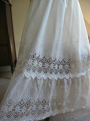 Antique Edwardian Period Schiffli Lace W Embroidery Tea Gown Skirt, Petticoat