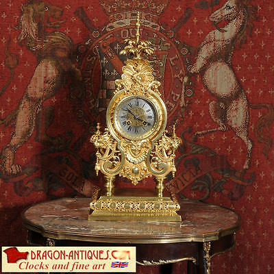 LENZKIRCH CHINOISERIE CHINESE DRAGONS ANTIQUE GILT BRONZE TABLE CLOCK C1881