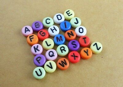 100 Pcs  Mixed Colors Alphabet Letter Coin Acrylic Space Loose Beads 4 x 7mm