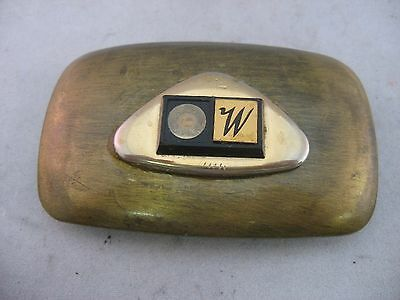 """Vintage Mens Belt Buckle: Brass w/ """"W"""" Initial ~ LETTER MISSING ~ Made in USA"""