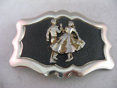 Vintage Mens Belt Buckle: GIRL BOY SQUARE DANCING ~ Great Design! ~