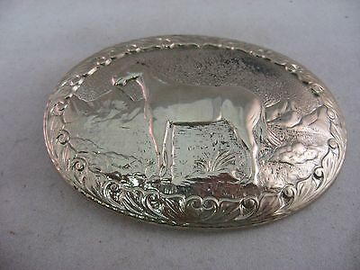 Vintage Mens Belt Buckle: HORSE Silver Tone CHAMBERS