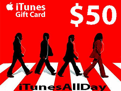 US $50 APPLE iTUNES GIFT CARD Voucher Certificate - 100% FREE WORLDWIDE SHIPPING