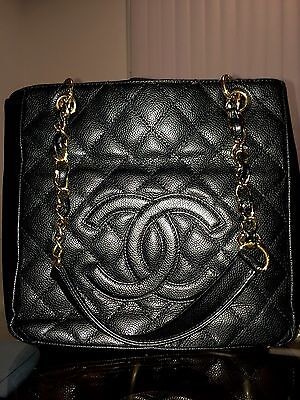 Medium Black & Gold Quilted Leather CHANEL GST Grand Shopping Tote/Handbag/Purse