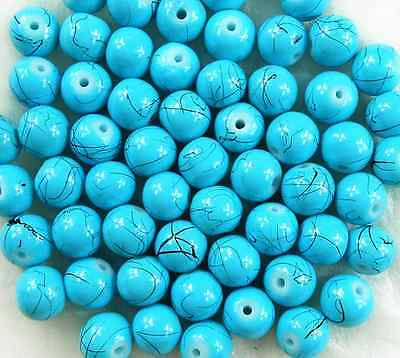 50Pcs 8mm Green Czech Lampwork Glass Round Spacer Loose Beads  # E43