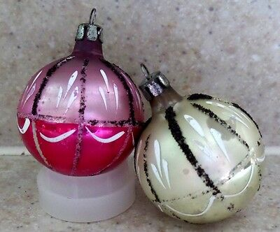 Vintage Set of 2 Silver & Pink Glass Christmas Tree Ornaments CUTE