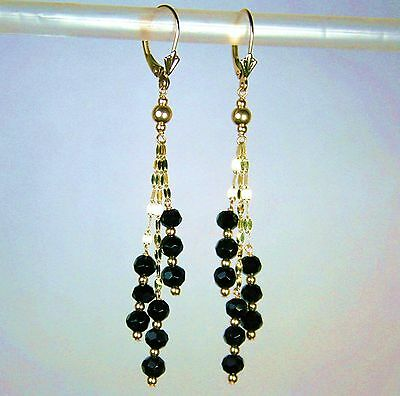14k solid yellow gold natural 4mm faceted black Onyx nice earrings leverback