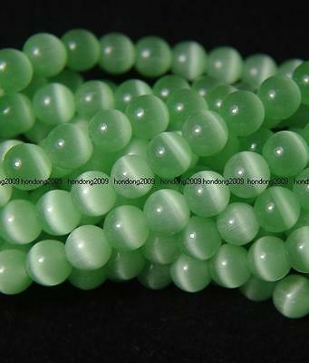 50pcs Grass Green Round Cat Eye 8mm Stone Loose Beads