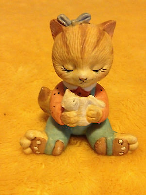 """""""BC PORCELAIN CAT FIGURINE"""" BRONSON COLLECTIBLES ORANGE GIRL WITH KITTEN 2"""""""