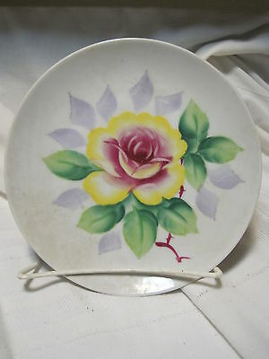 VTG Hand Painted PINK/YELLOW Rose Motif  PORCELAIN Plate MADE IN Japan