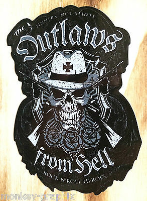 """Oldschool Ratrod Sticker """"Outlaws from Hell"""" Schlagring Aufkleber US Auto Bike"""