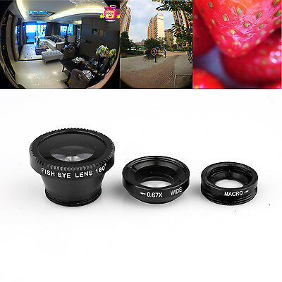 """Black 3 IN 1 180° Fish Eye Lens+Wide Angle+Micro Lens for Apple iPhone 6 4.7"""""""