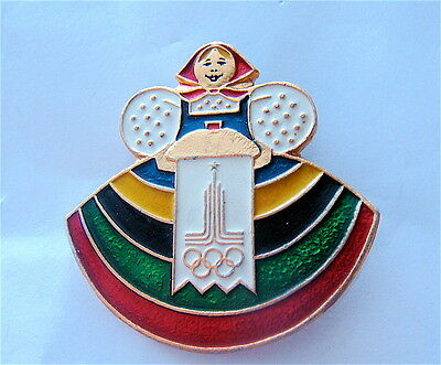 MOSCOW 1980 OLYMPIC GAMES PIN WELCOME  FOLK GIRL W ROUND LOAF SOLT AND LOGO