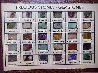 Vintage 30 Gemstones In The Rough Set Made In Germany Ruby Emerald Sapphire Opal
