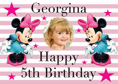 Large Kids Minnie Mouse Birthday Poster Banner Personalised Any Text Name