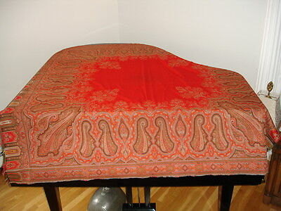 Stunning Antique Victorian Paisley Wool Kashmir Shawl ~ Pretty Colors