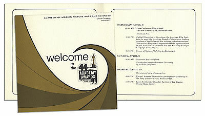 1972 Academy Awards Weekend Itinerary Program