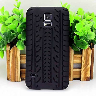 Black Rubber Tyre Soft Silicone Skin Case Cover For Samsung Galaxy S5 SV i9600
