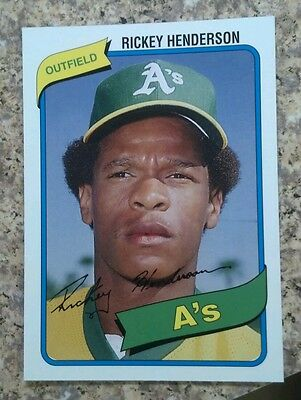 2006 Topps Rickey Henderson Rookie of the Week Reprint 1980 Oakland Athletics A
