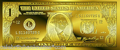 "ORIGINAL PURE 24K GOLD""150th ANNIVERSARY"" $1 BILL/BANKNOTE- AMAZING! *MUST SEE *"
