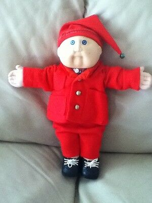 Vintage Cabbage Patch Doll  Made In Hong Kong #2 Label KT In Xmas Suit Outfit