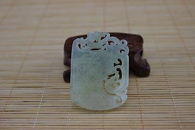 Natural jade jadeite old manual hollow out the carved jade pendant#Y018