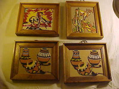 Lot of 4 Vintage New Mexico Sandpainting, Rainbow Way Ltd. Native American