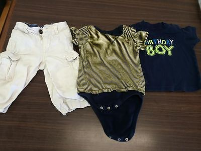 Lot of 3 Boys Baby Clothes Gap  Khaki and tops  Size 12-18