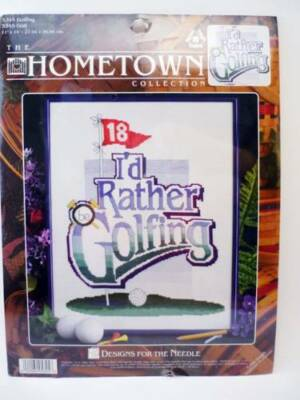 """New Counted Cross Stitch Kit I'd Rather Be Golfing 18th Hole Golf Fairway 11x14"""""""