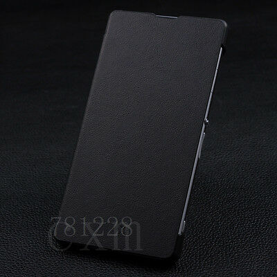 New Luxury Flip Book Leather Hard Back Case Cover For Sony Xperia Z1 L39H black