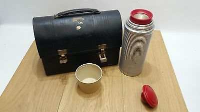 VINTAGE 1960s BLACK METAL LUNCH BOX, POLLY RED TOP THERMOS