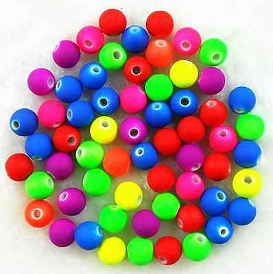 200Pcs 6mm Mixed Color Neon Matte Rubber Acrylic Spacer Loose Beads
