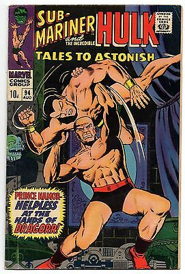 Tales to Astonish Vol 1 No 94 Aug 1967 (VG+ to FN-) Marvel Comics, Silver Age