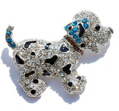New Hot Spotty Dog Jewelry Lovely Dog Crystal Party Children Jewelry Brooch Blue