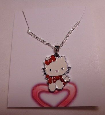 "Hello Kitty Style Hanging Pendant Necklace Red Dress with Stars 16"" Chain NEW"