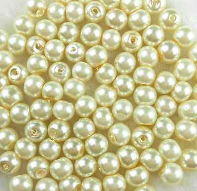 200Pcs 4mm  Ivory/Cream Glass Pearl Spacer Loose Bead