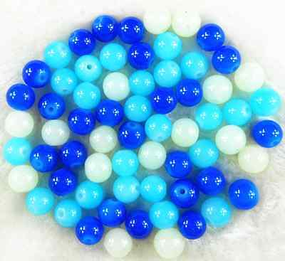 200Pcs 4mm Blue Mixed Color Solid Glass Pearl Round Spacer Loose Beads