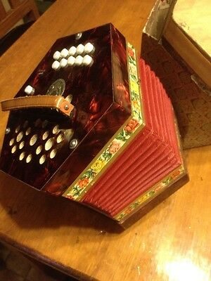 antique Concertina Small Accordion Musical Instrument Germany Vintage Scholer