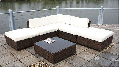 New 6 Piece Wicker / Rattan Outdoor Furniture Patio Lounger Sofa Set w/ Table