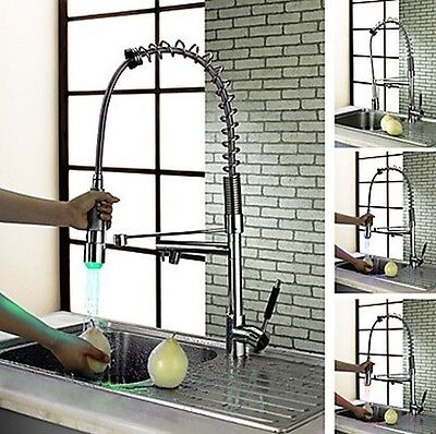 CR14 Contemporary 3 color led chrome kitchen faucet tap mixer Pull out