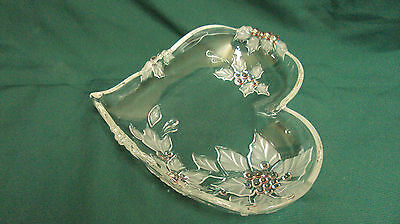 Large Heart Shaped Crystal Mikasa Dish, Raised Relief Poinsettia Pink Berry