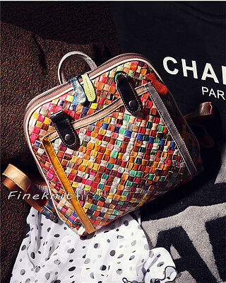 Women Casual shoulder bag Color Genuine Leather Patchwork Bag Student Backpack